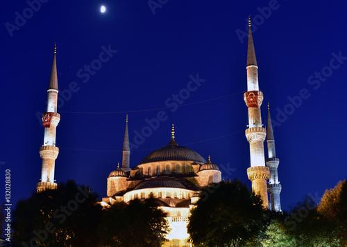 Poster Sultan Ahmet Mosque at night, ıstanbul, Turkey