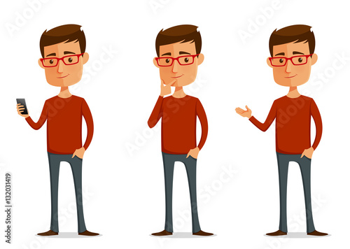 funny cartoon guy with glasses in various poses - 132031419