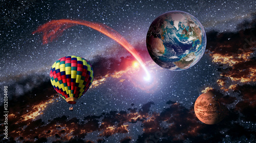 Foto op Plexiglas Draken Hot air balloon outer space shooting star planet fairy tale stunning surreal fantasy landscape. Elements of this image furnished by NASA.