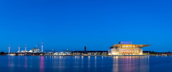 Copenhagen harbor panorama by night