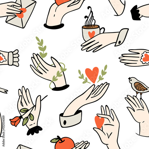 Cotton fabric Seamless hands pattern.