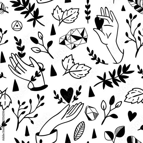 Cotton fabric Seamless hands pattern.