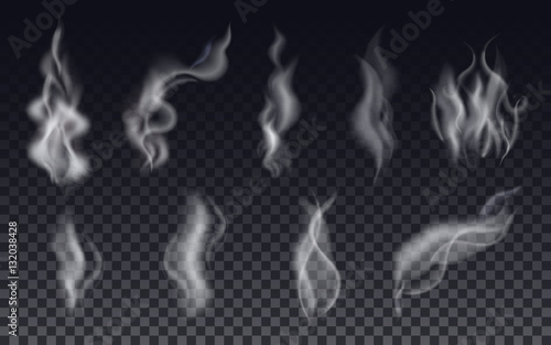 Realistic cigarette smoke waves or steam on transparent background. - 132038428