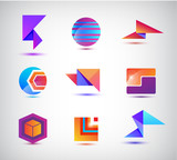 Vector set of abstract origami, sphere, geometric colorful 3d logos.