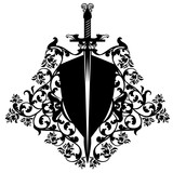 heraldic shield and sword among roses vector design
