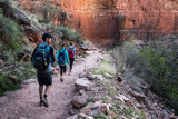 Group of hikers on the walkway at the Grand Canyon National Park, USA