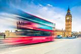 Big Ben and landmark bus on Westminster Bridge in London - 132046219