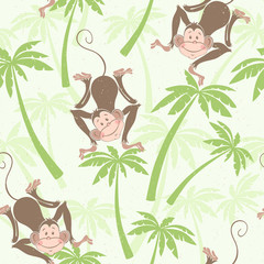 Seamless pattern with cute monkeys on the palms. Kids cartoon background.