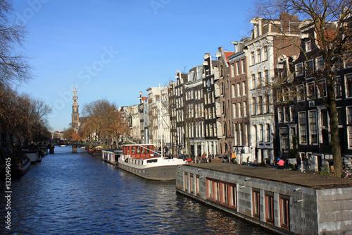 Poster Canal en automne à Amsterdam, Pays-Bas