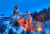 Winter scene with the famous castle of Dracula in Bran town, Transylvania, Romania