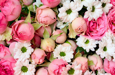 Closeup of pink roses and white daisy flowers bouquet