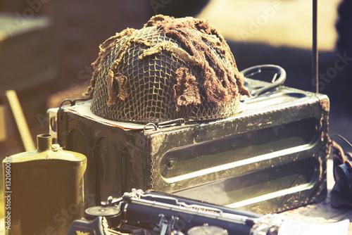 Poster helmet from World War II ammunition box