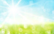 Light green, blue spring background with sun shine and blurry li