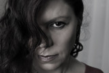 Woman stress face portrait, horizontal closeup