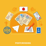 Postcrossing Flat Style Illustration