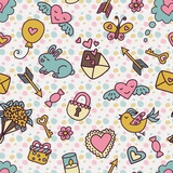 Seamless pattern in cartoon style in pastel colors for Valentine's Day.