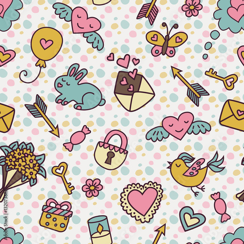 Cotton fabric Seamless pattern in cartoon style in pastel colors for Valentine's Day.