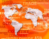 Orange World Map Background Means International Global Maps