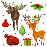 Christmas theme with reindeers and presents