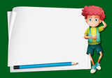 Paper template with cute boy and pencil