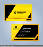 Yellow and Black modern business card template, vertical, Illustration Vector 10