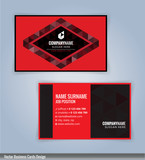 Black and Red modern business card template, vertical, Illustration Vector 10