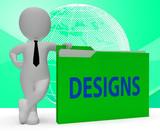Designs Folder Indicating Files Conception 3d Rendering