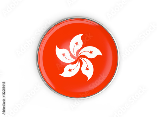 Poster Flag of hong kong, round icon with metal frame