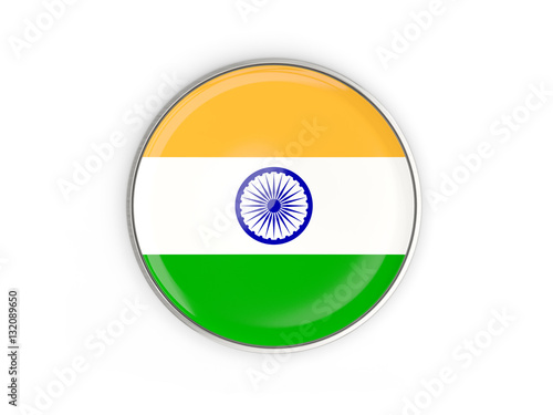 Poster Flag of india, round icon with metal frame