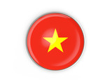 Flag of vietnam, round icon with metal frame