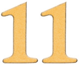 11, eleven, numeral of wood combined with yellow insert, isolate