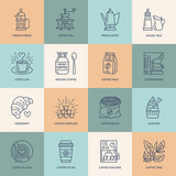 Fototapety Coffee making equipment vector line icons. Elements - french press, grinder, espresso, cup, beans, croissant, coffee tree. Linear pictogram with editable stroke for restaurant menu.
