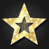 Stars shape retro 3d frame with lights. Vector hollywood movie star design element for billboard advertising
