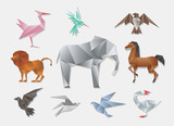 Origami animals. Vector 3d paper japanese animal set. Elephant and horse, lion dove