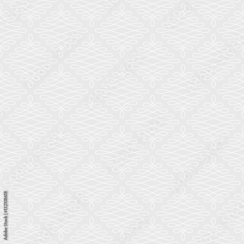 Neutral Seamless Linear Flourish Pattern. - 132108618