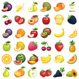 Fruit icon collection - color illustration