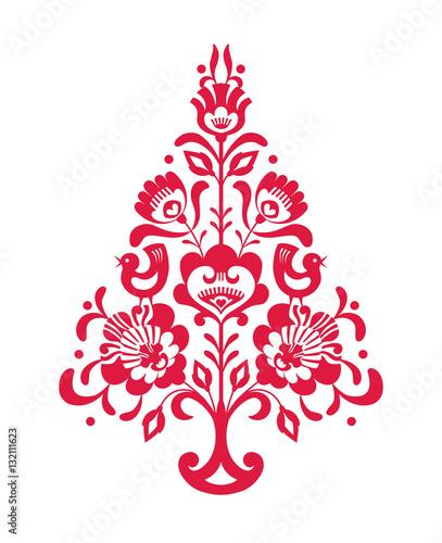 Czerwona choinka bożonarodzeniowa ze wzorem ludowym - 132111623