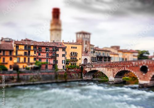 Staande foto Stockholm Image with tilt shift effect. Verona, Italy.