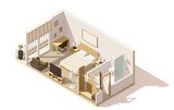 Fototapety Vector isometric low poly hotel room icon