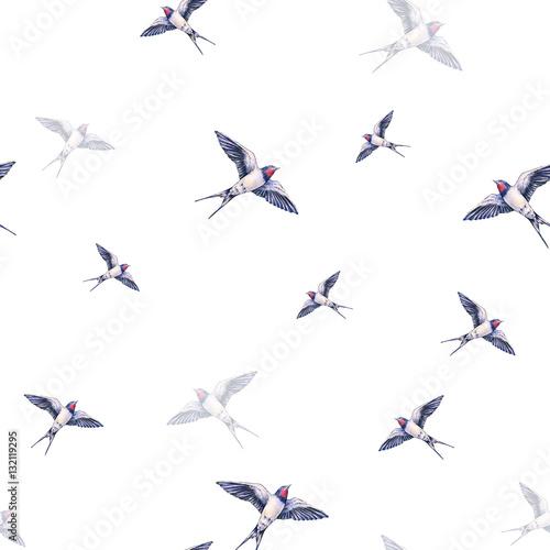 Materiał do szycia Piękny połknąć na białym tle. Akwarela ilustracja. Ptak Wiosna przynosi miłość. Ręcznych. Wzór