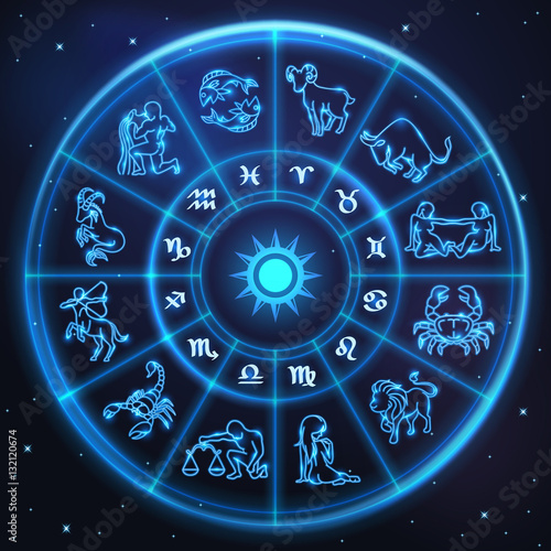Light symbols of zodiac and horoscope circle, astrology © TAW4