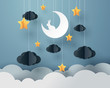 Постер, плакат: Paper art of Goodnight and sweet dream night and paper mobile