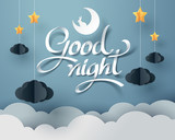 Paper art of Goodnight and sweet dream, night and paper mobile