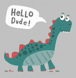 Cool Cute Dinosaur Illustration Wall Sticker