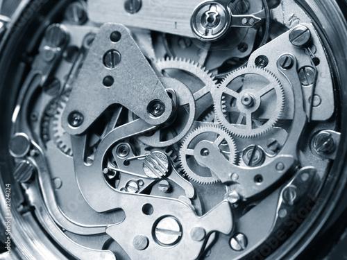 Poster clock mechanism close-up view