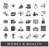 Set of premium quality money and wealth icons. Collection of financial icons.