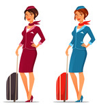 cartoon air hostess with suitcase