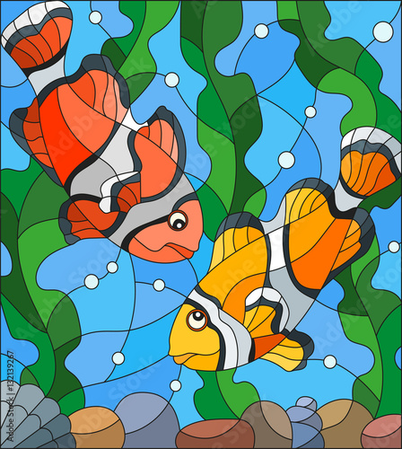 illustration-in-stained-glass-style-with-a-pair-of-clown-fish-on-the-background-of-water-and-algae