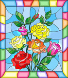 Illustration in stained glass style with flowers, buds and leaves of  roses on a blue background - 132140209