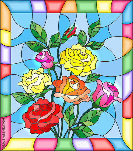 illustration-in-stained-glass-style-with-flowers-buds-and-leaves-of-roses-on-a-blue-background